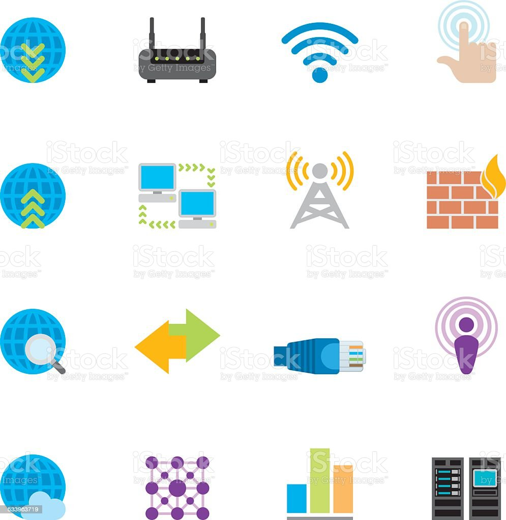 Flat Networking icons | Simpletoon series vector art illustration