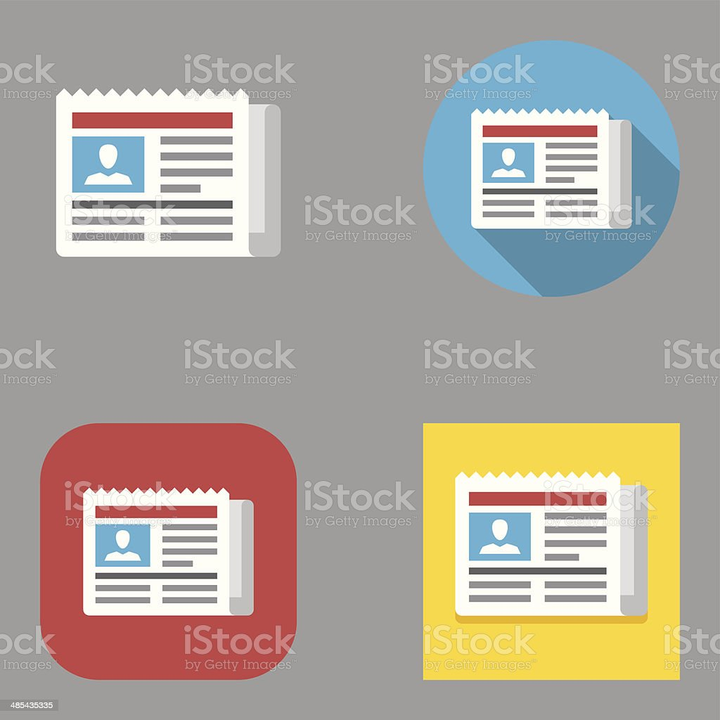 Flat Newspaper icons | Kalaful series vector art illustration