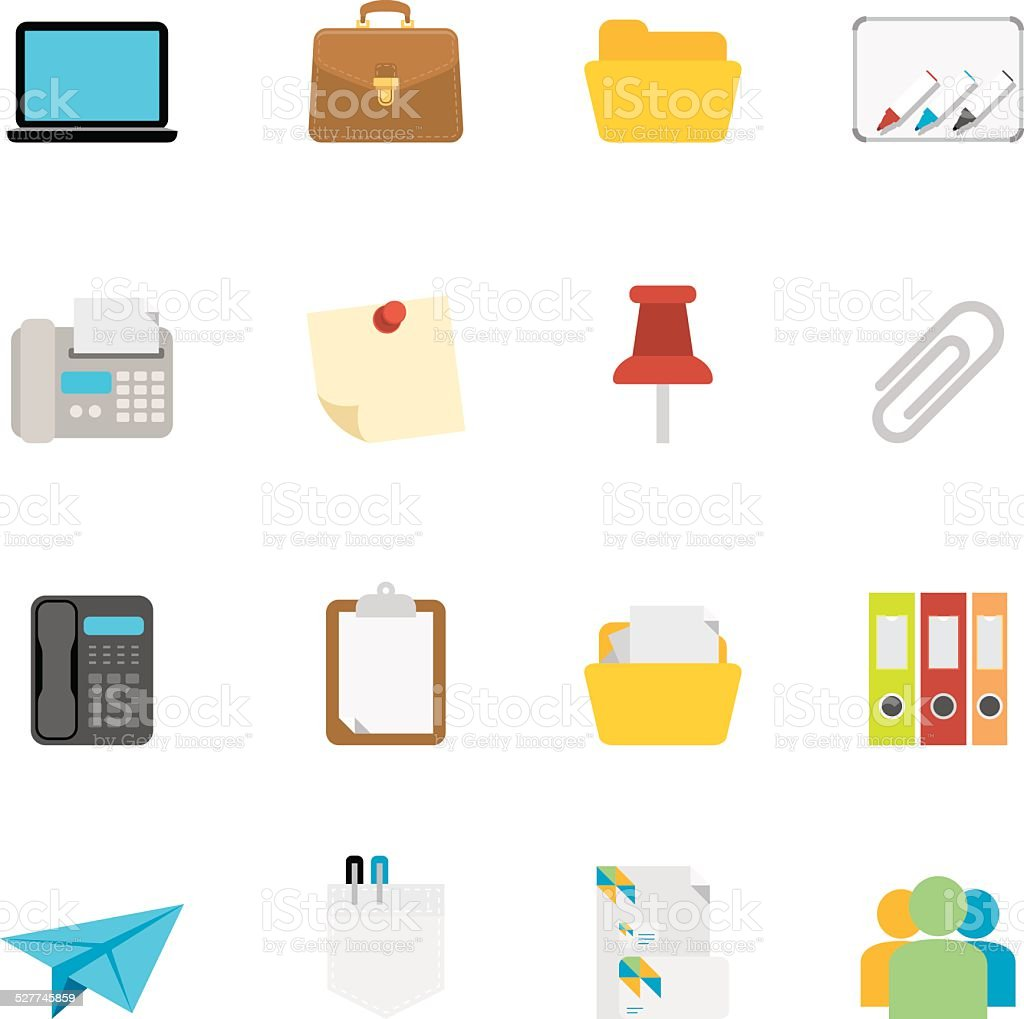 Flat Office icons | Simpletoon series vector art illustration