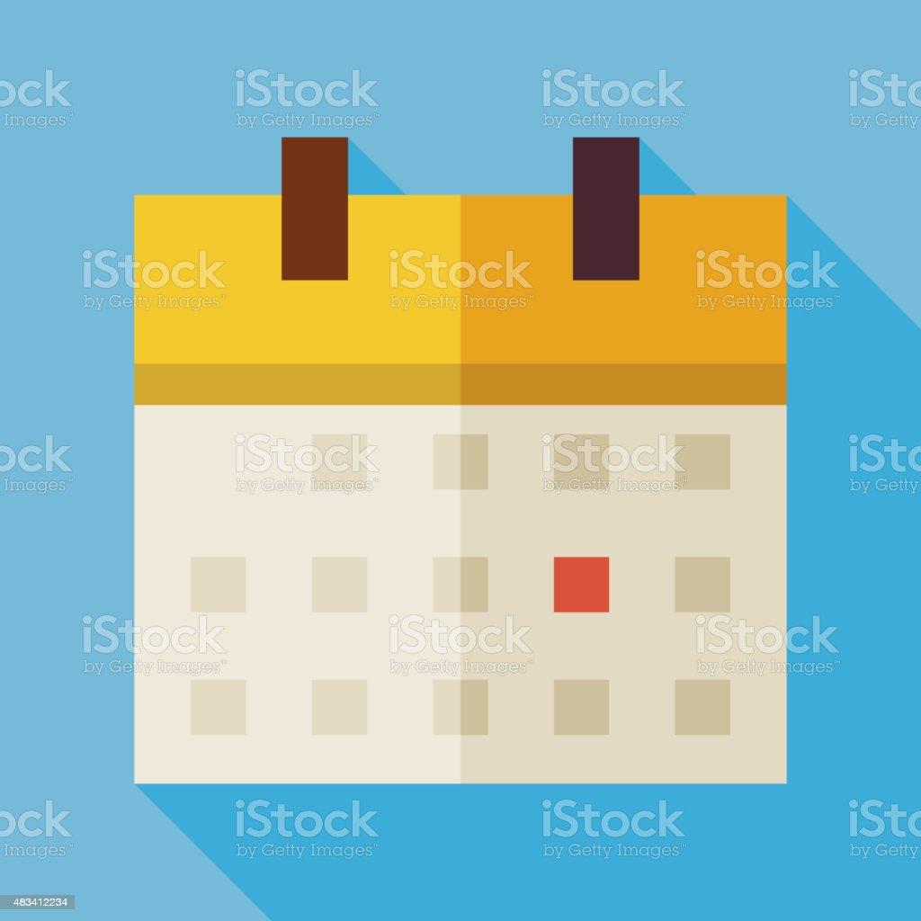 Flat Office Time Management Calendar Illustration with long Shad vector art illustration