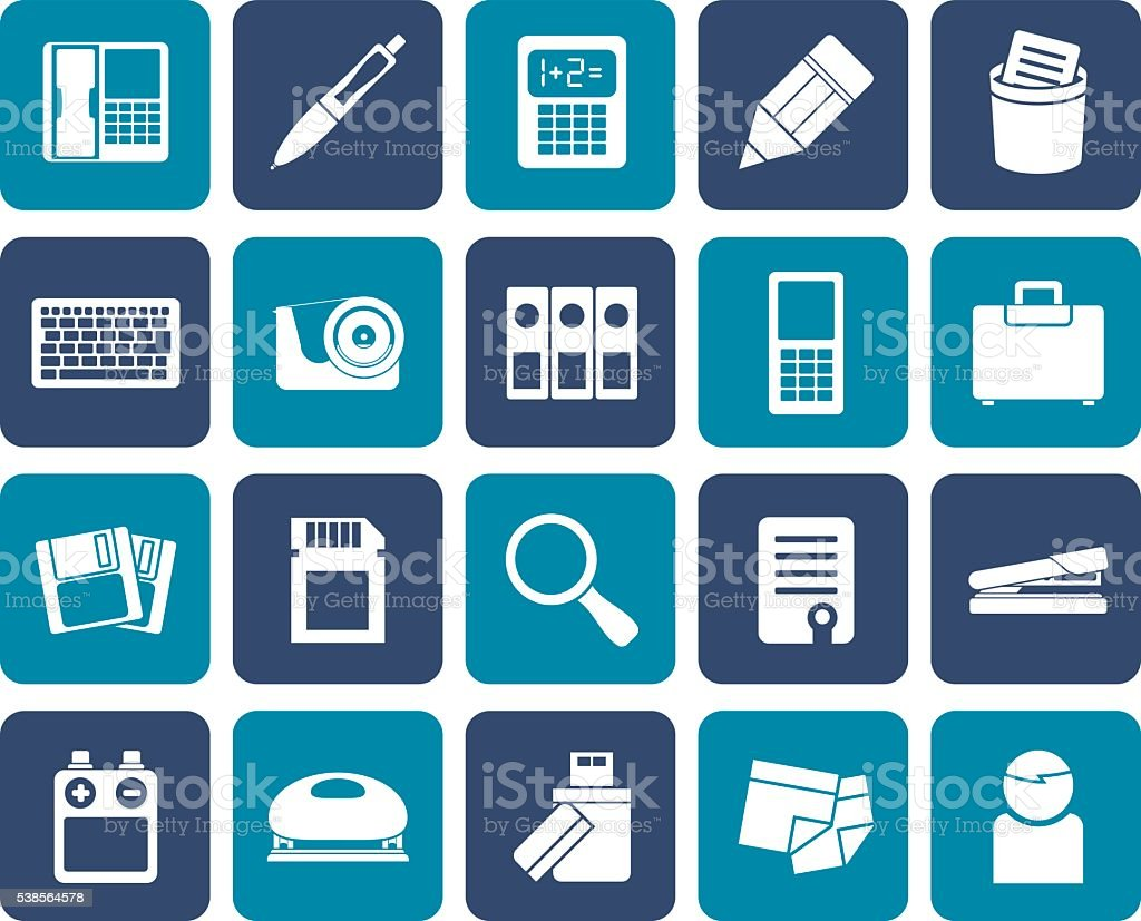 Flat Office tools Icons vector art illustration