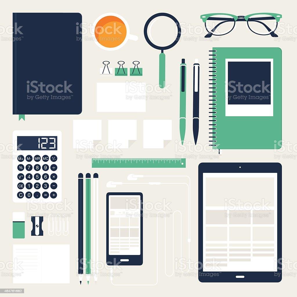 Flat Office Tools vector art illustration