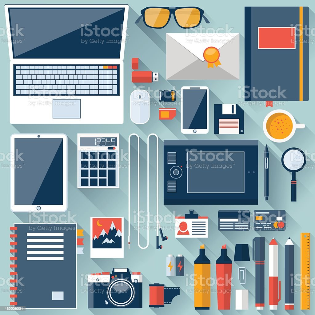 Flat office workplace environment vector art illustration