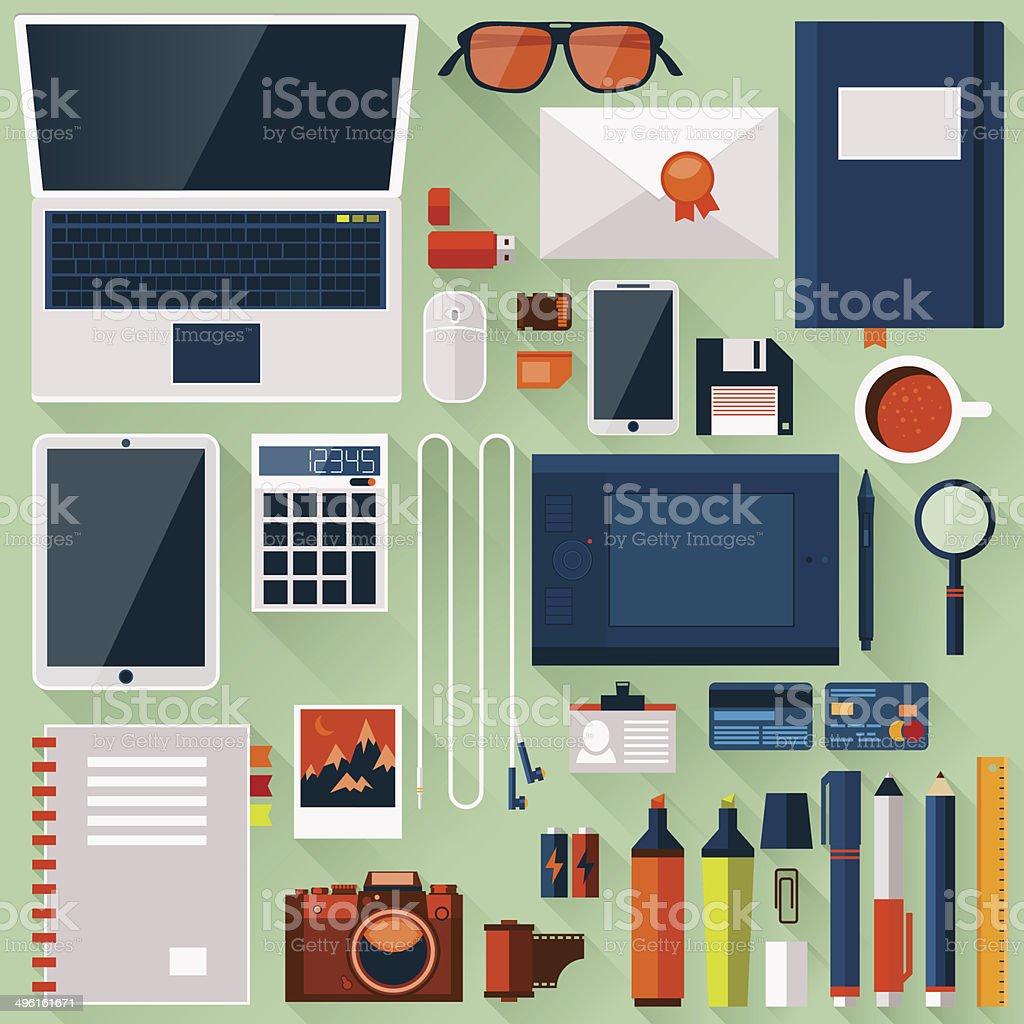 Flat office workplace environment vector art illustration