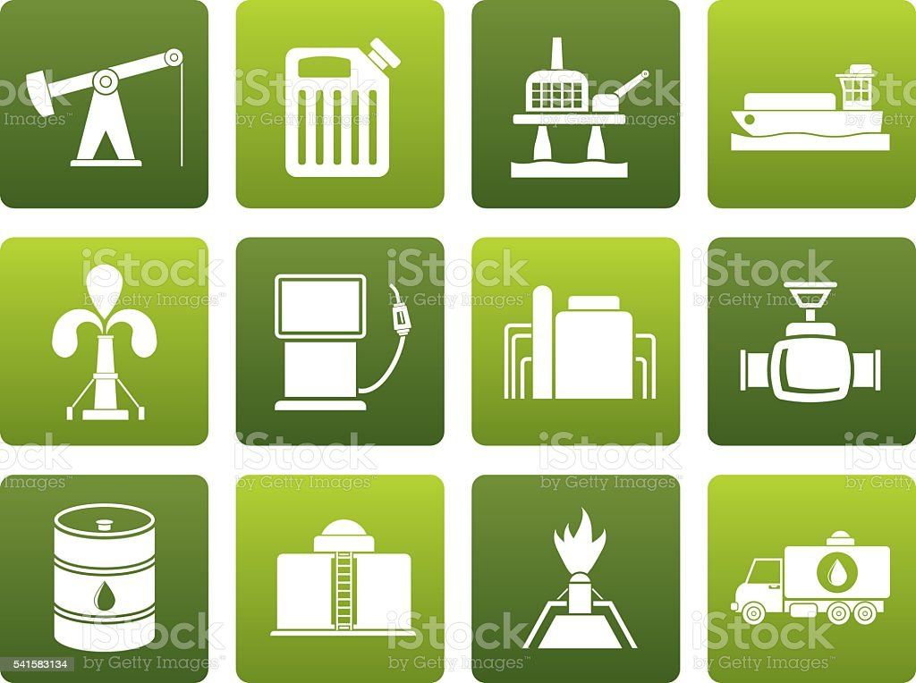 Flat Oil and petrol industry icons vector art illustration