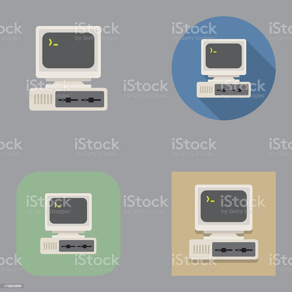 Flat Old Vintage Computer icons | Kalaful series vector art illustration