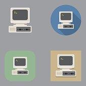 Flat Old Vintage Computer icons | Kalaful series