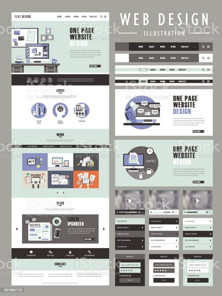 flat one page website template design vector art illustration