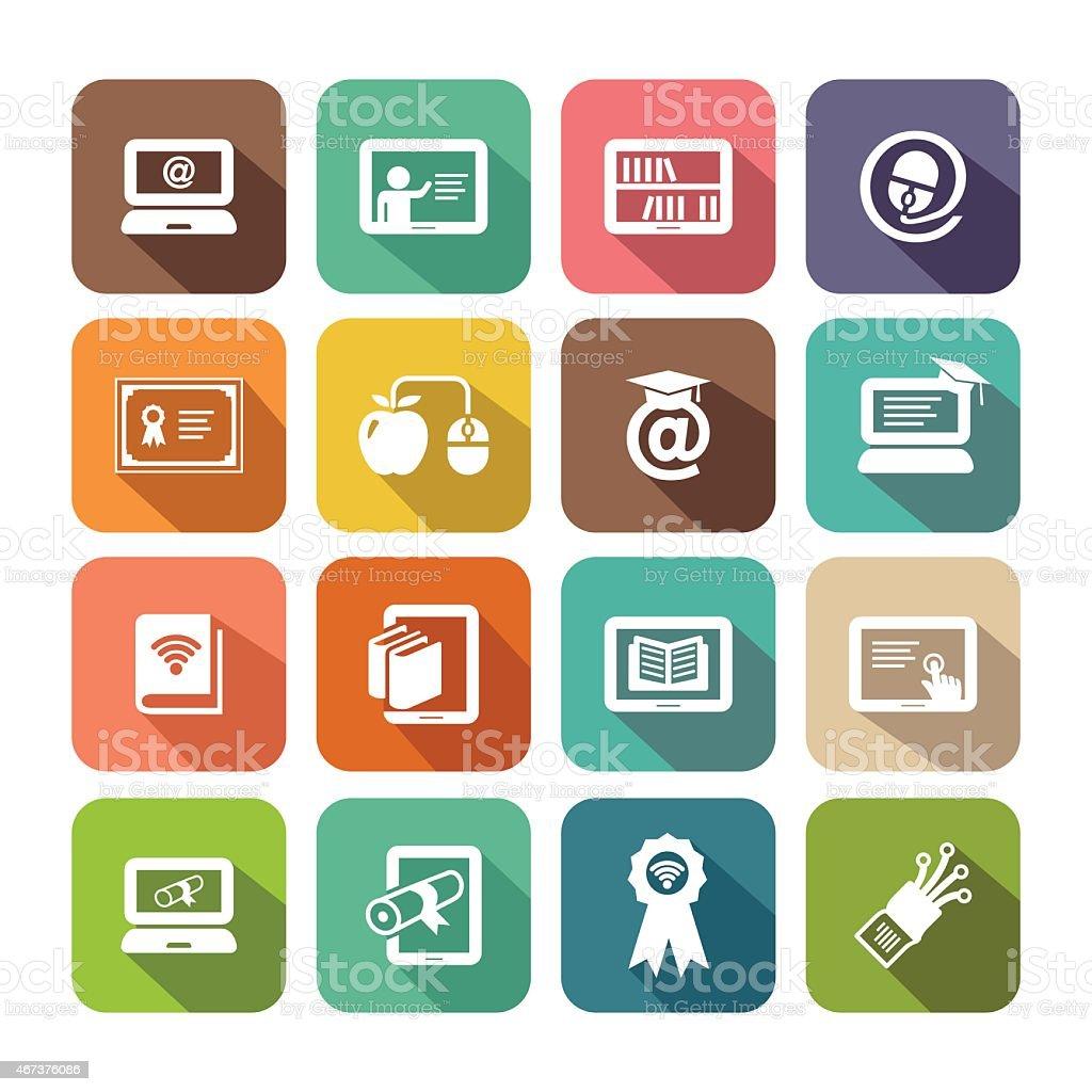 Flat Online Education Icon Set vector art illustration