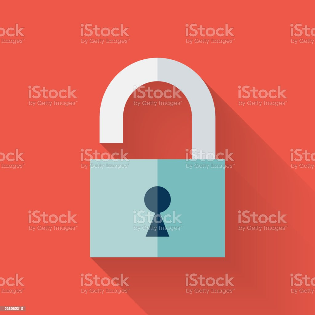 Flat open padlock icon over red vector art illustration