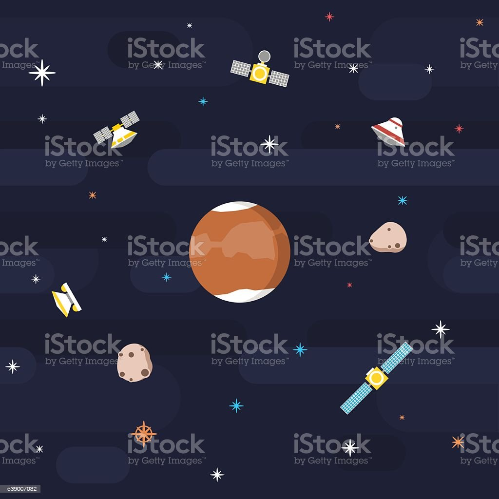 Flat Outer Space Pattern - Mars vector art illustration