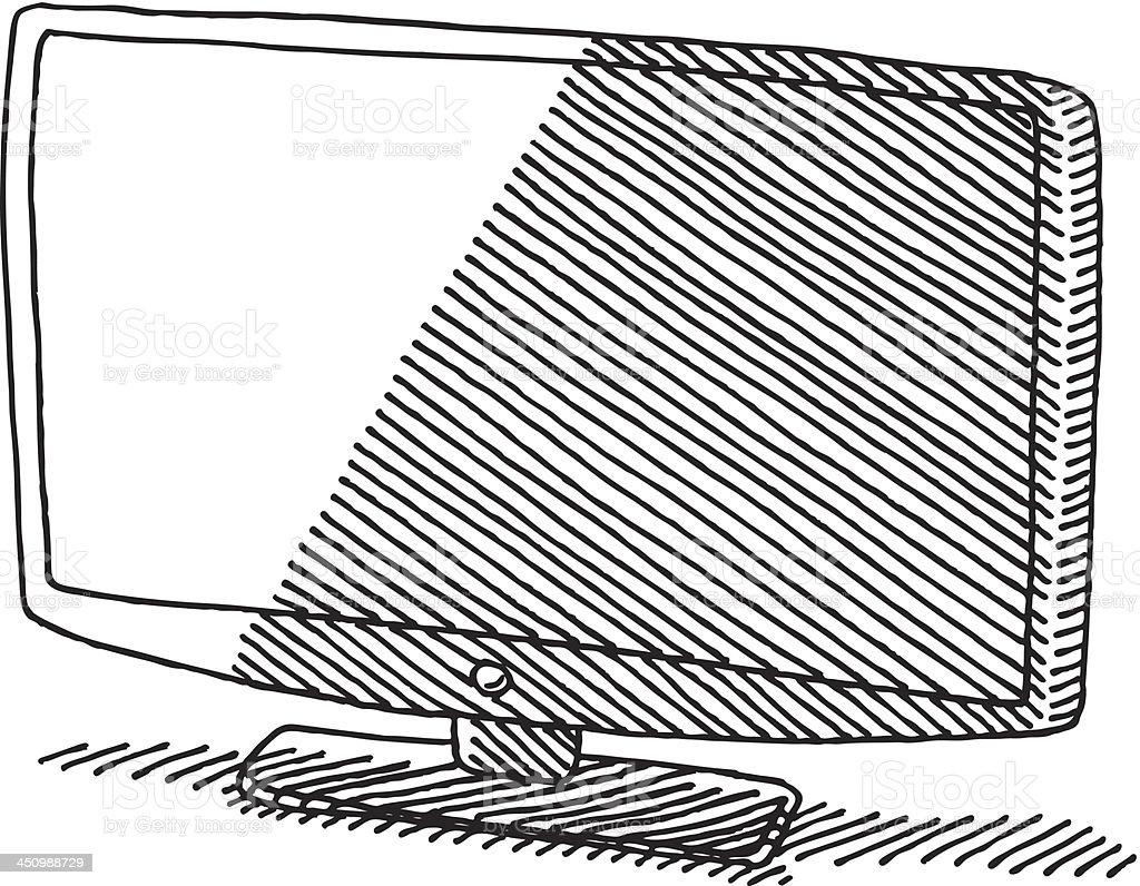 Flat Panel TV Drawing royalty-free stock vector art