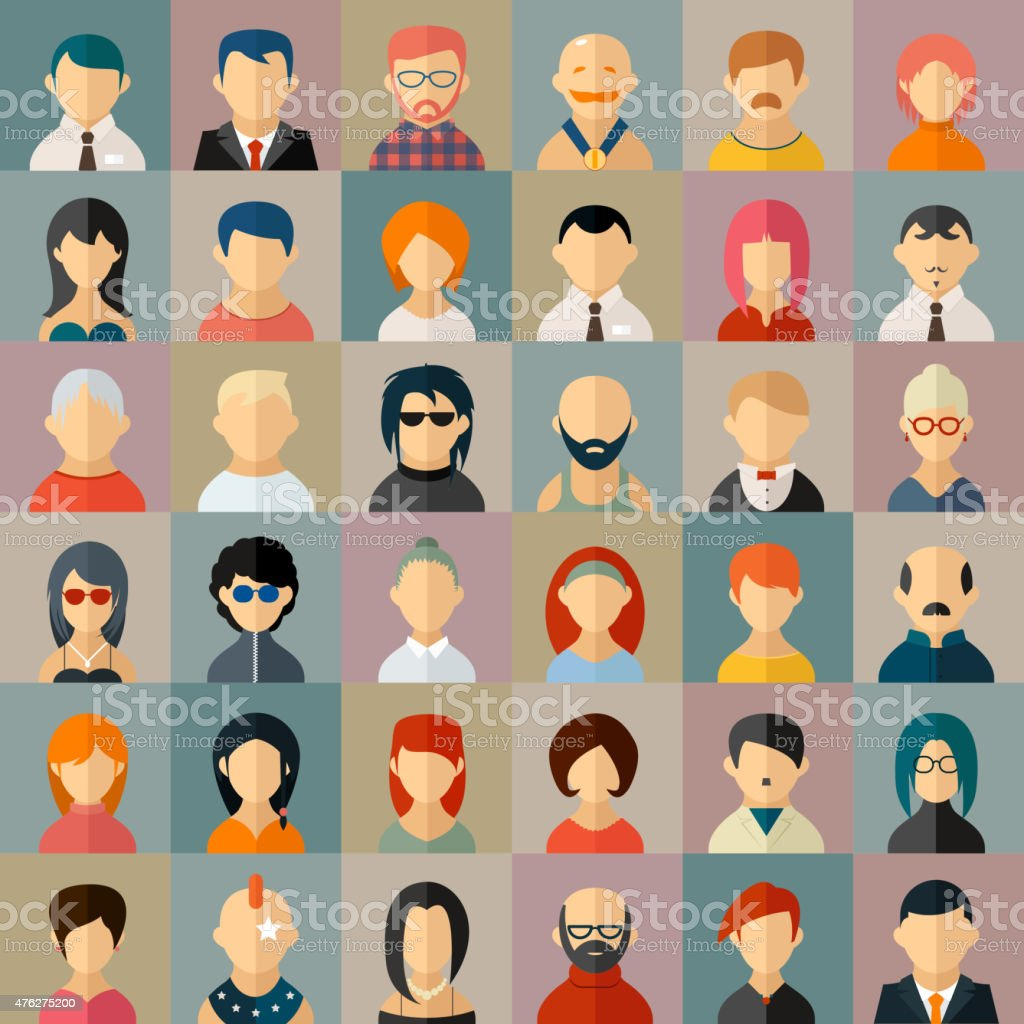 Flat people character avatar icons vector art illustration