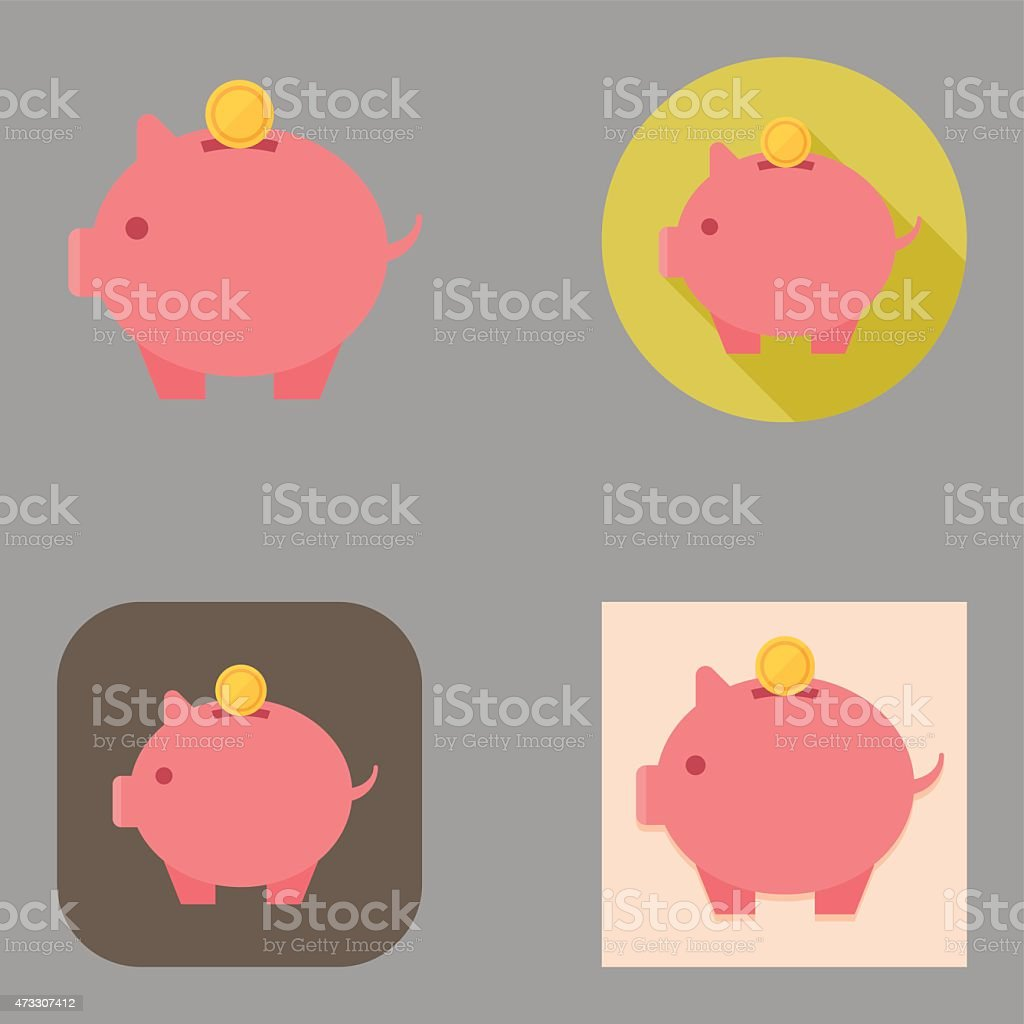 Flat Piggy Bank icons | Kalaful series vector art illustration
