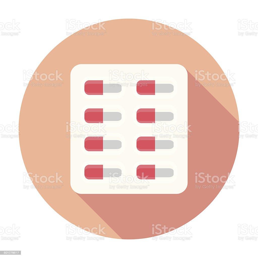 Flat Pills Icon vector art illustration