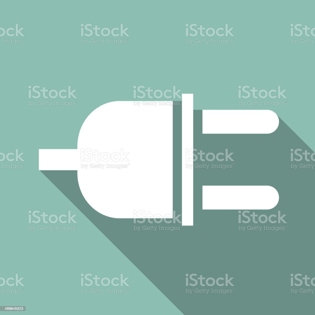 Flat plug icon with long shadow vector art illustration