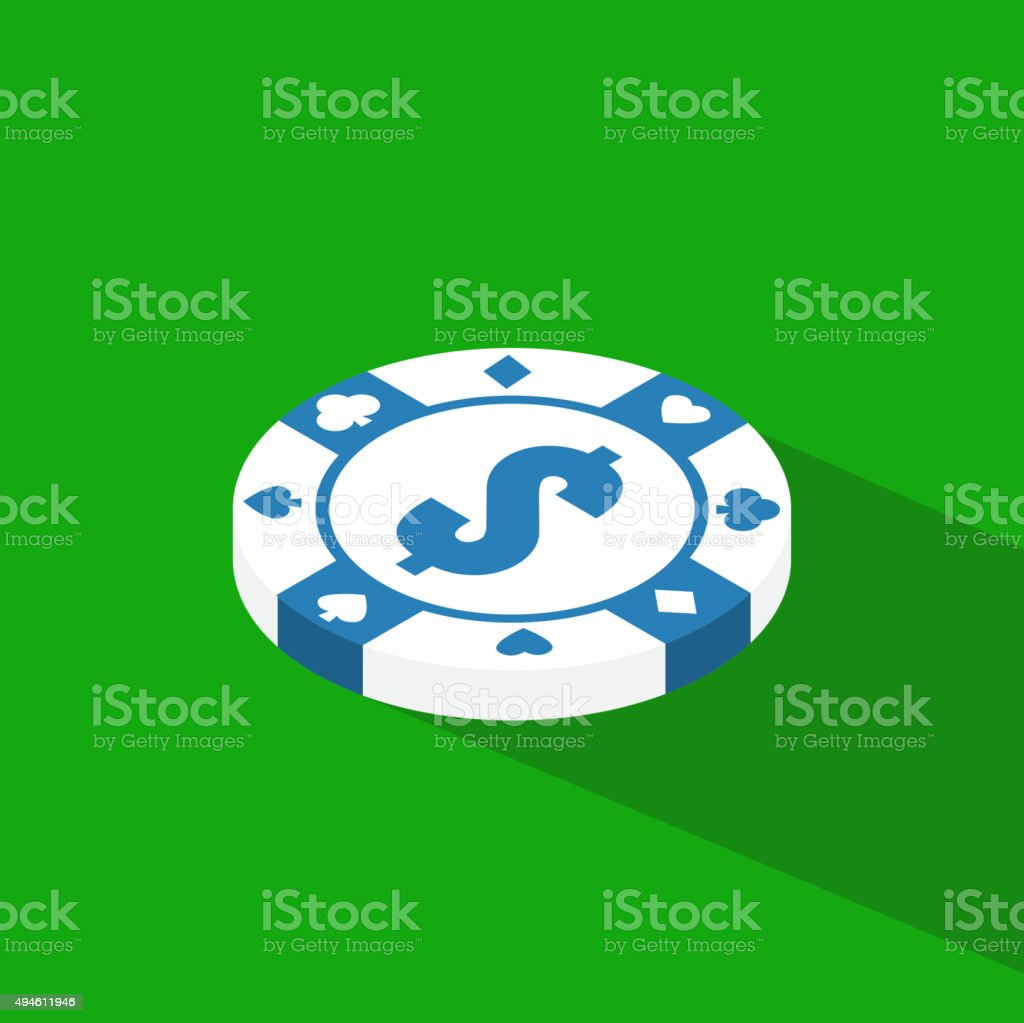 Flat poker table. Flat Poker table isometric vector art illustration