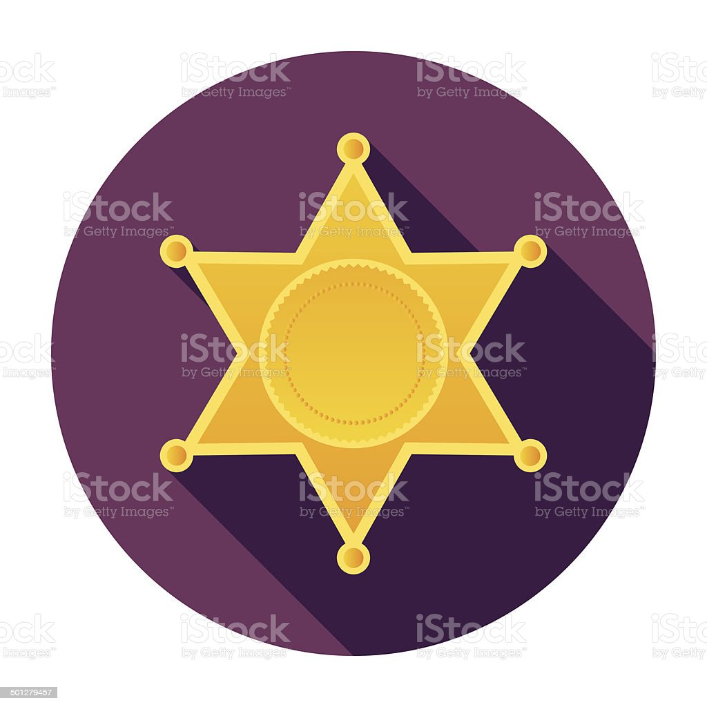 Flat Police Badge Icon vector art illustration