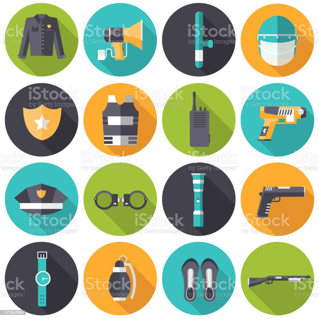 Flat police uniform and set protection icons on isoleted background vector art illustration
