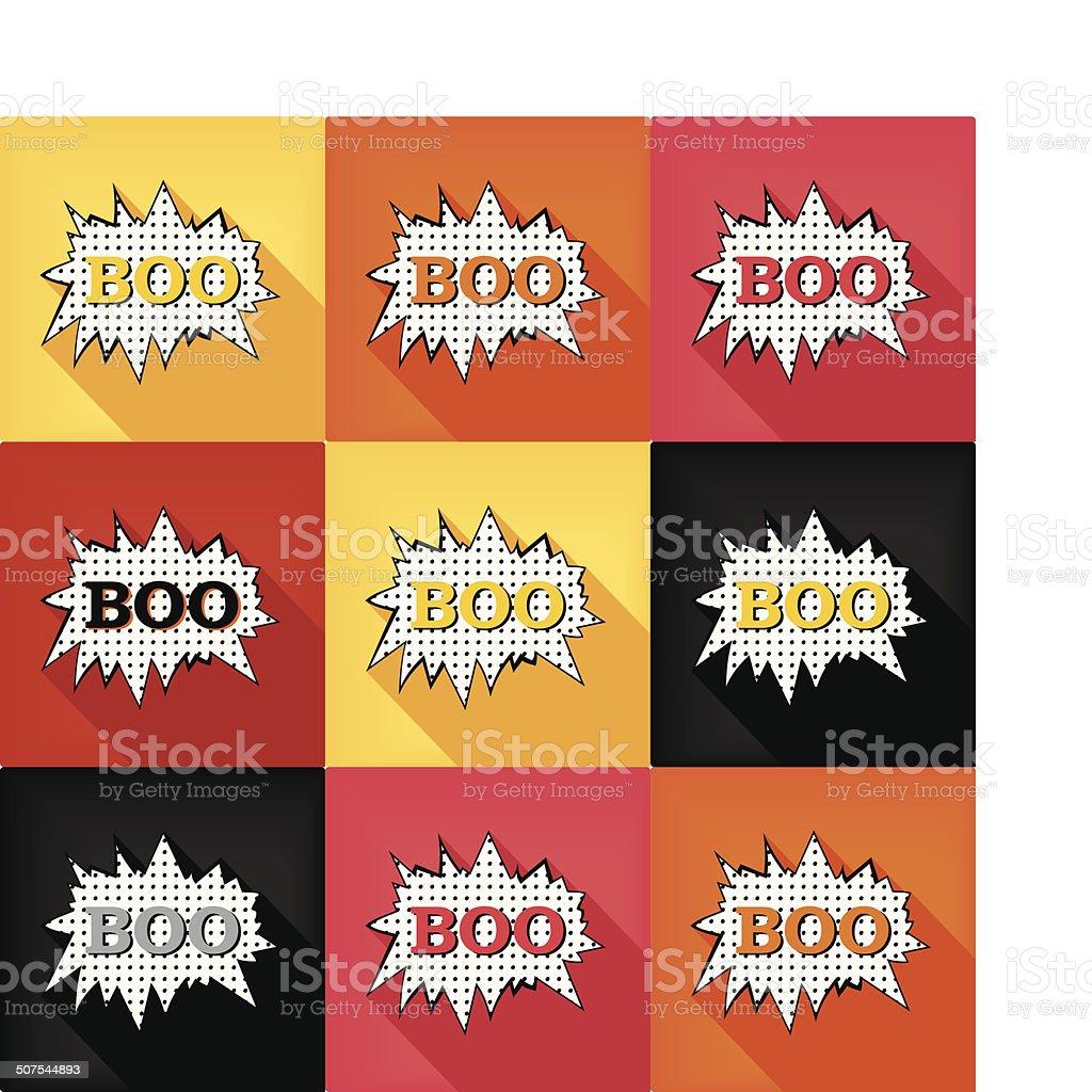 Flat pop art speech bubble - BOO vector art illustration