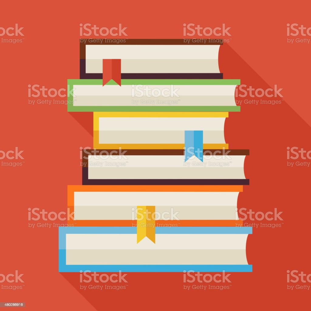Flat Reading Books Knowledge Illustration with Shadow vector art illustration