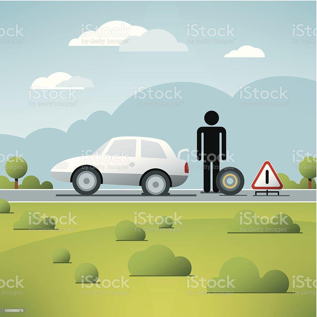 Flat Rear Tire Change Car Vector royalty-free stock vector art