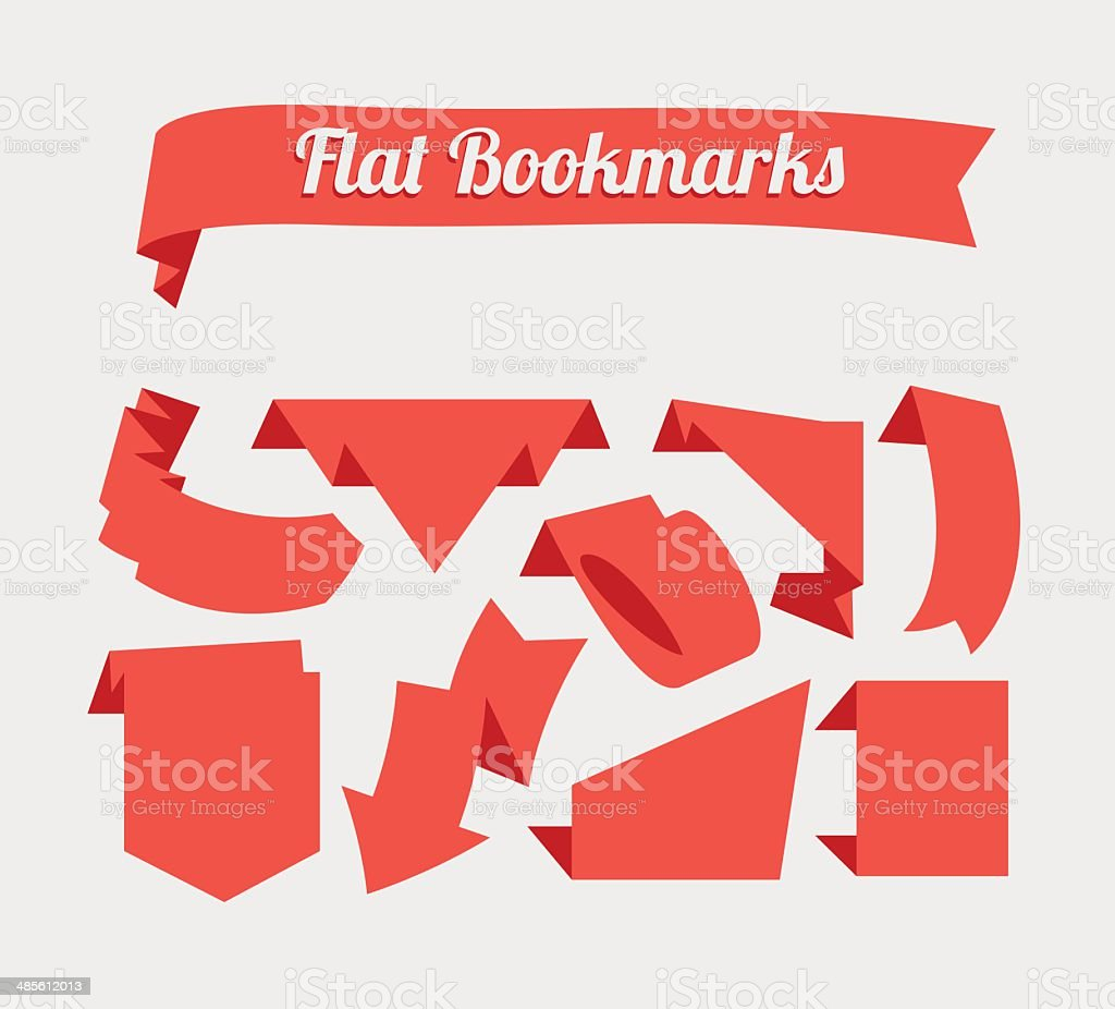 Flat red bookmarks vector art illustration