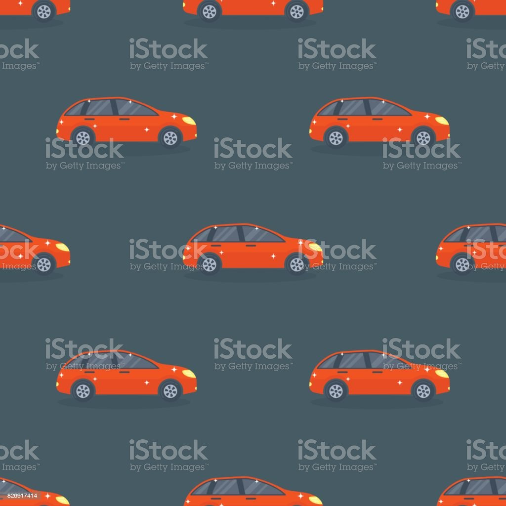 Flat red car vehicle type design sedan seamless pattern vector generic classic business auto illustration vector art illustration