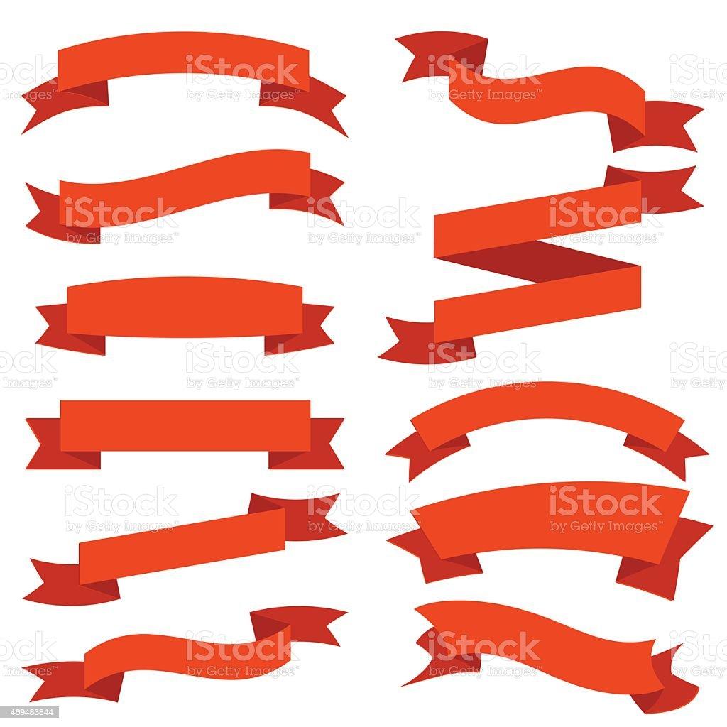 Flat Red Ribbons vector art illustration