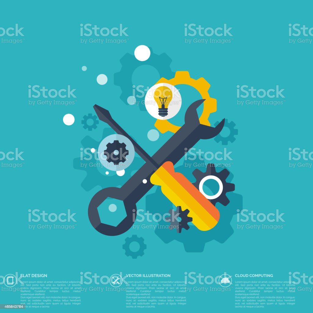 Flat repair icon. Mechanic service concept.  Web site creating vector art illustration