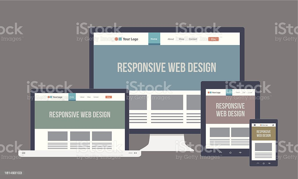Flat responsive web design with multiple devices royalty-free stock vector art