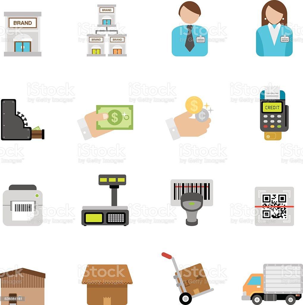 Flat Retailing icons | Simpletoon series vector art illustration