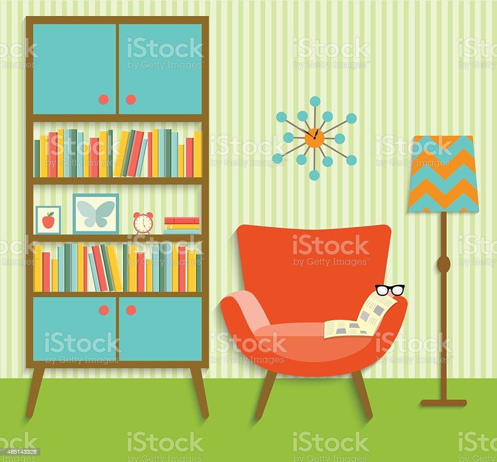 flat retro interior living room .vector illustration vector art illustration