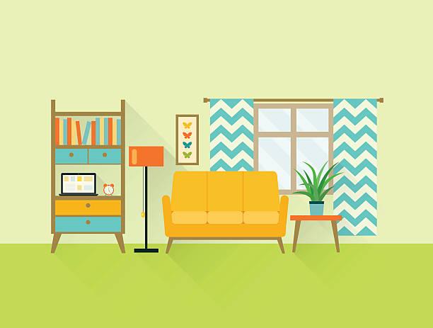 Flat Retro Living Room Vector Illustration Art