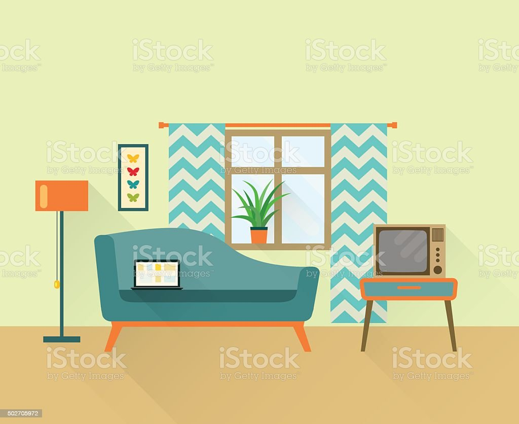 Flat Retro Living Room Vector Illustration Royalty Free Stock Art