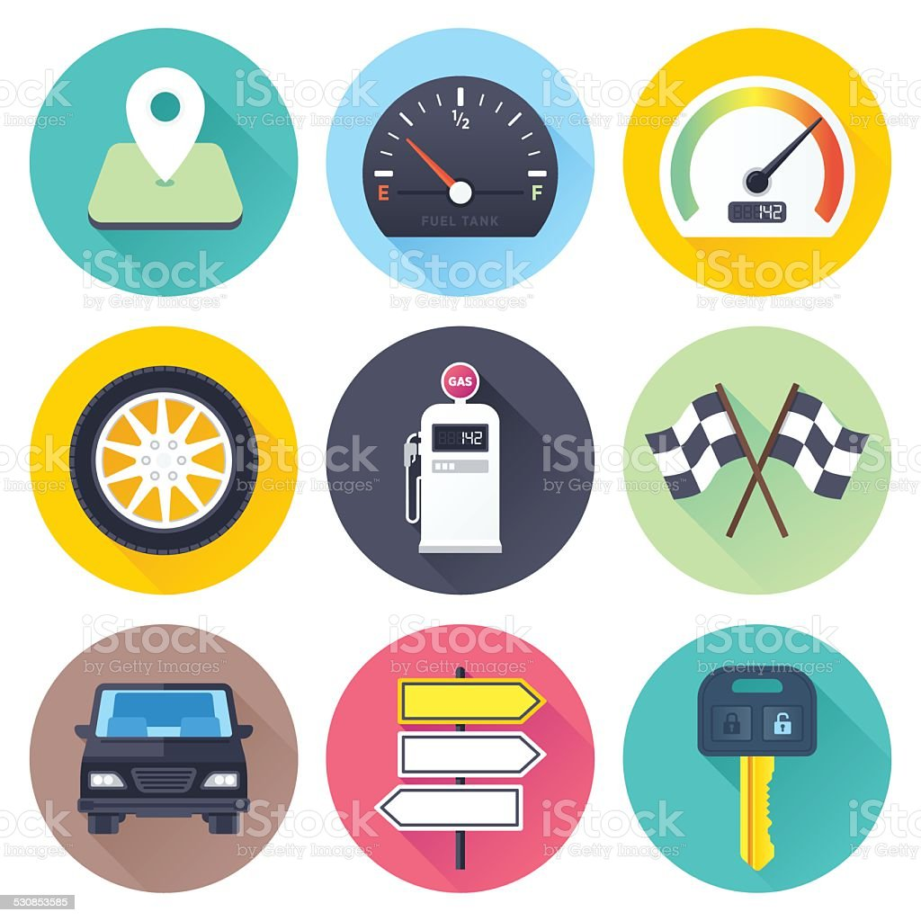 Flat Road Icons vector art illustration