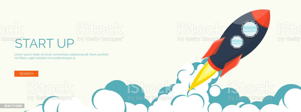 Flat rocket. Project start up. Space. Smart solutions. New product vector art illustration