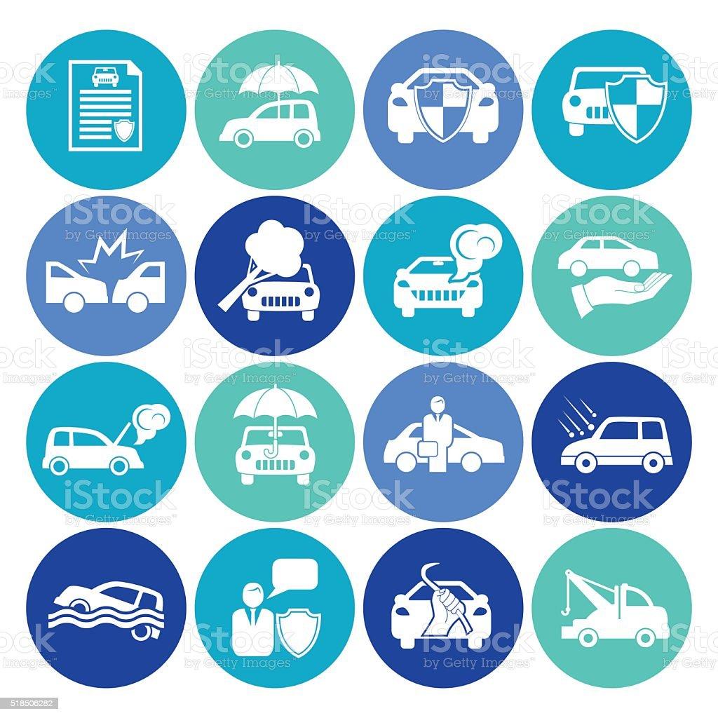 Flat Round Automotive Insurance Icon Set vector art illustration
