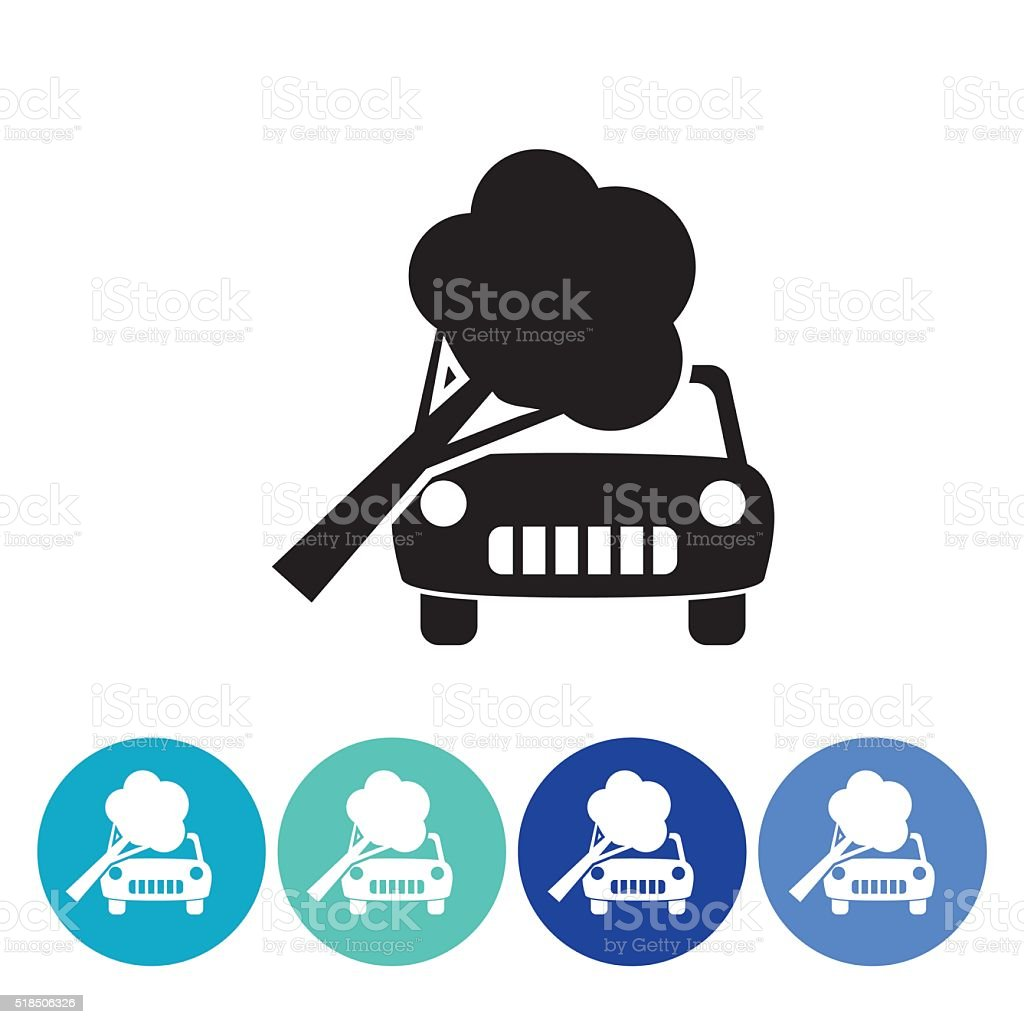 Flat Round Automotive Insurance Icon Set vector art illustration