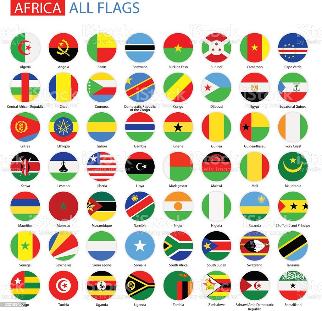 Flat Round Flags of Africa - Full Vector Collection vector art illustration
