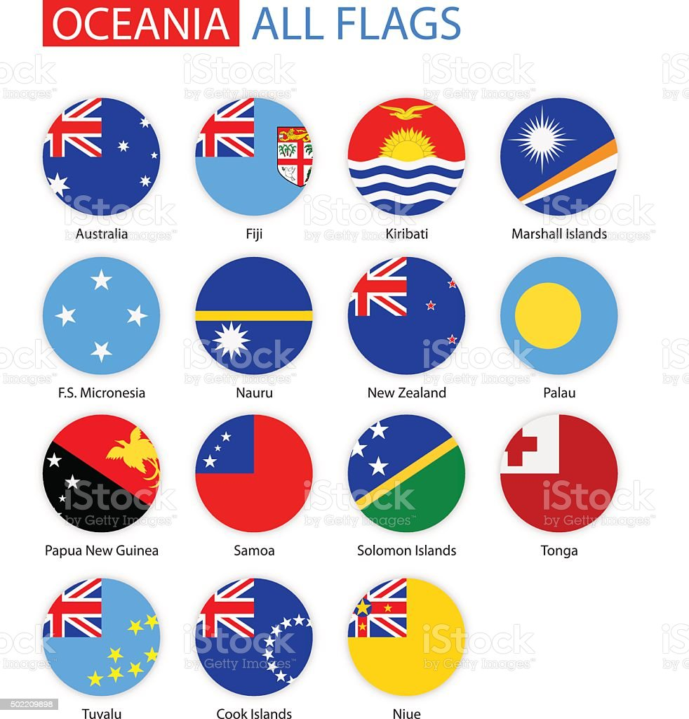 Flat Round Flags Of Oceania - Full Vector Collection vector art illustration