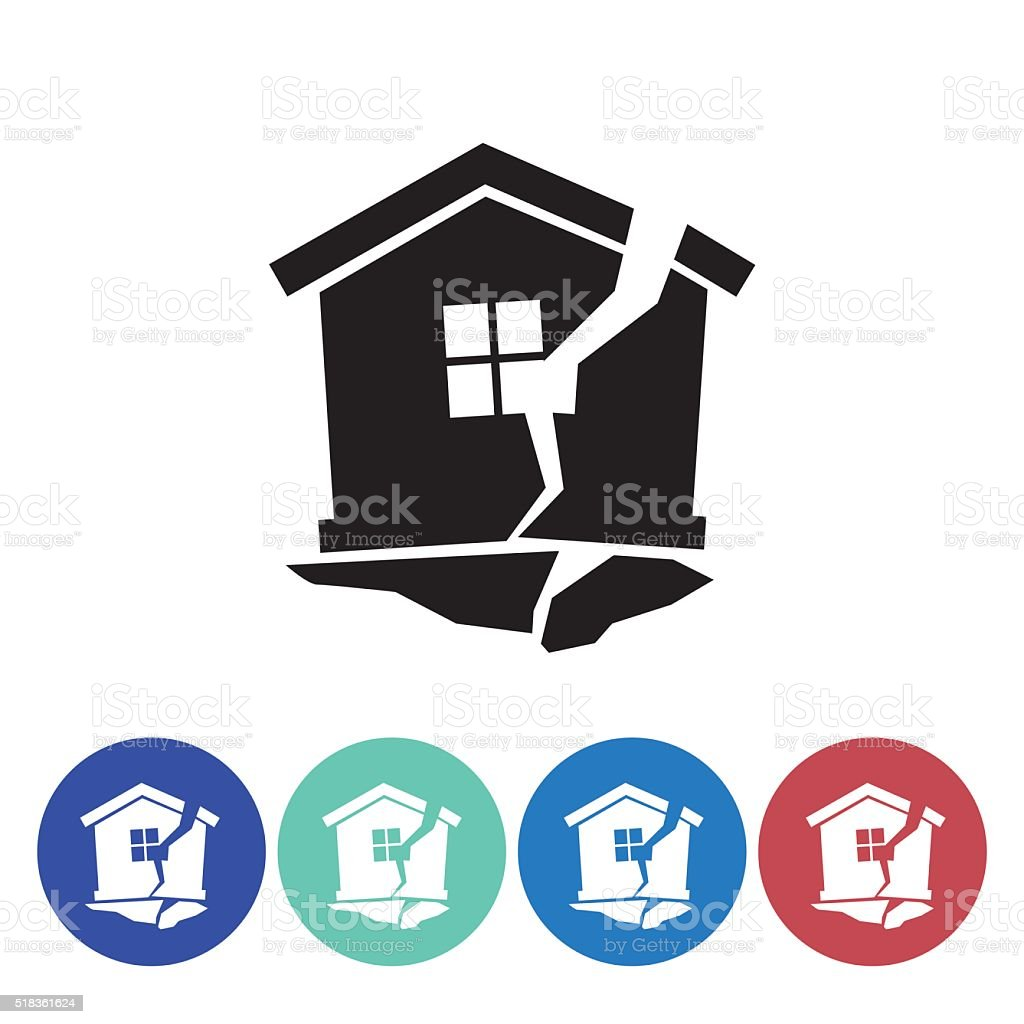 Flat Round Homeowners Insurance Icon Set vector art illustration