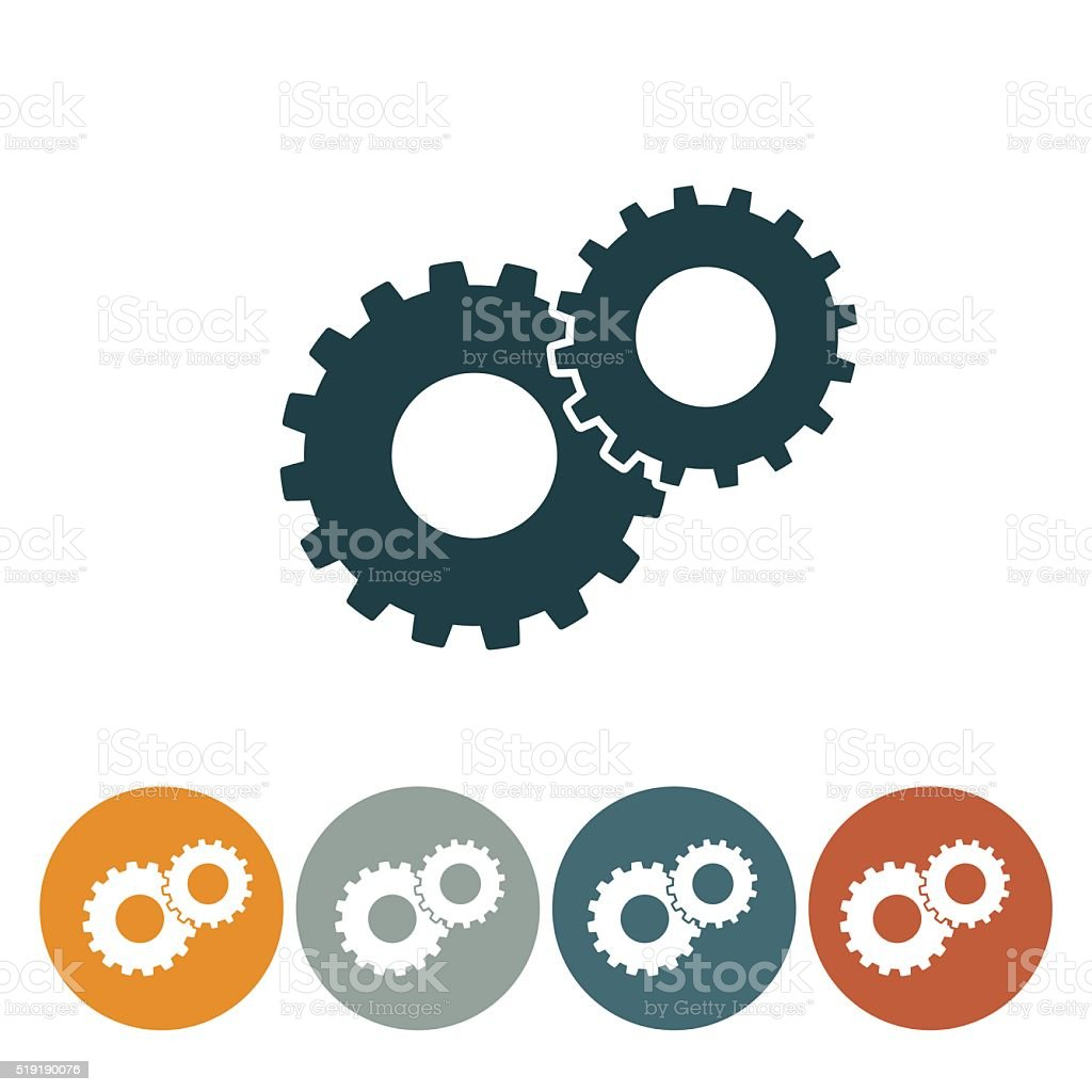 Flat Round Wedsite Icon - Gears Technical Support vector art illustration