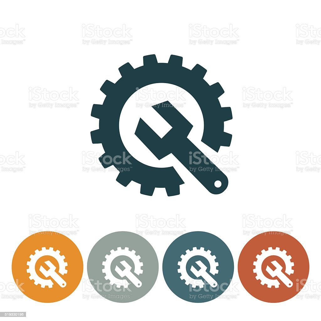 Flat Round Wedsite Icon - Technical Support vector art illustration