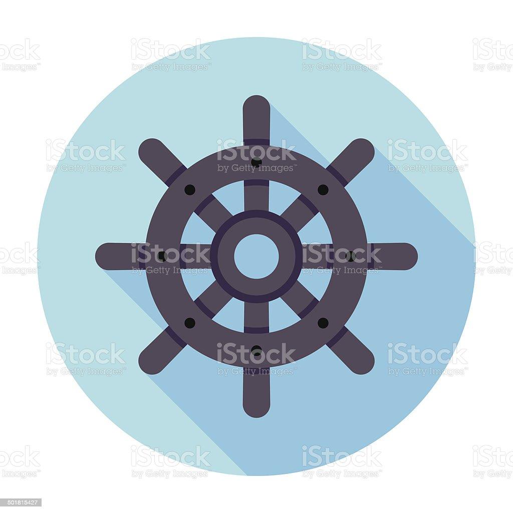 Flat Rudder Icon vector art illustration
