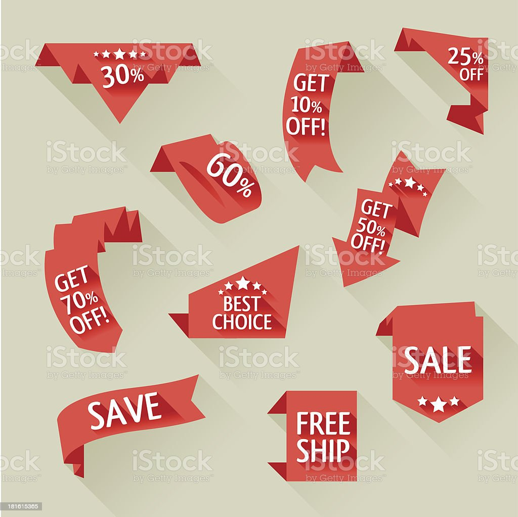 Flat sale ribbons with long shadow vector art illustration