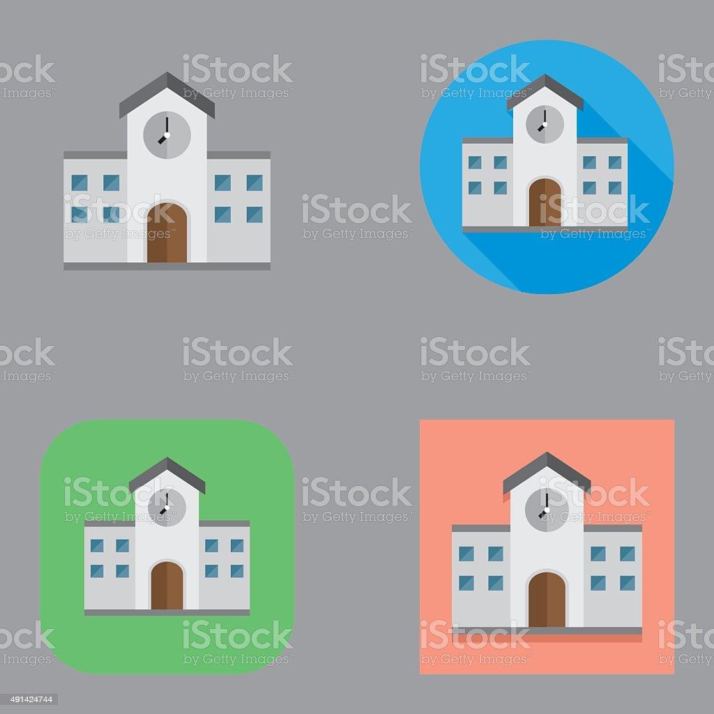 Flat School Building icon | Kalaful series vector art illustration
