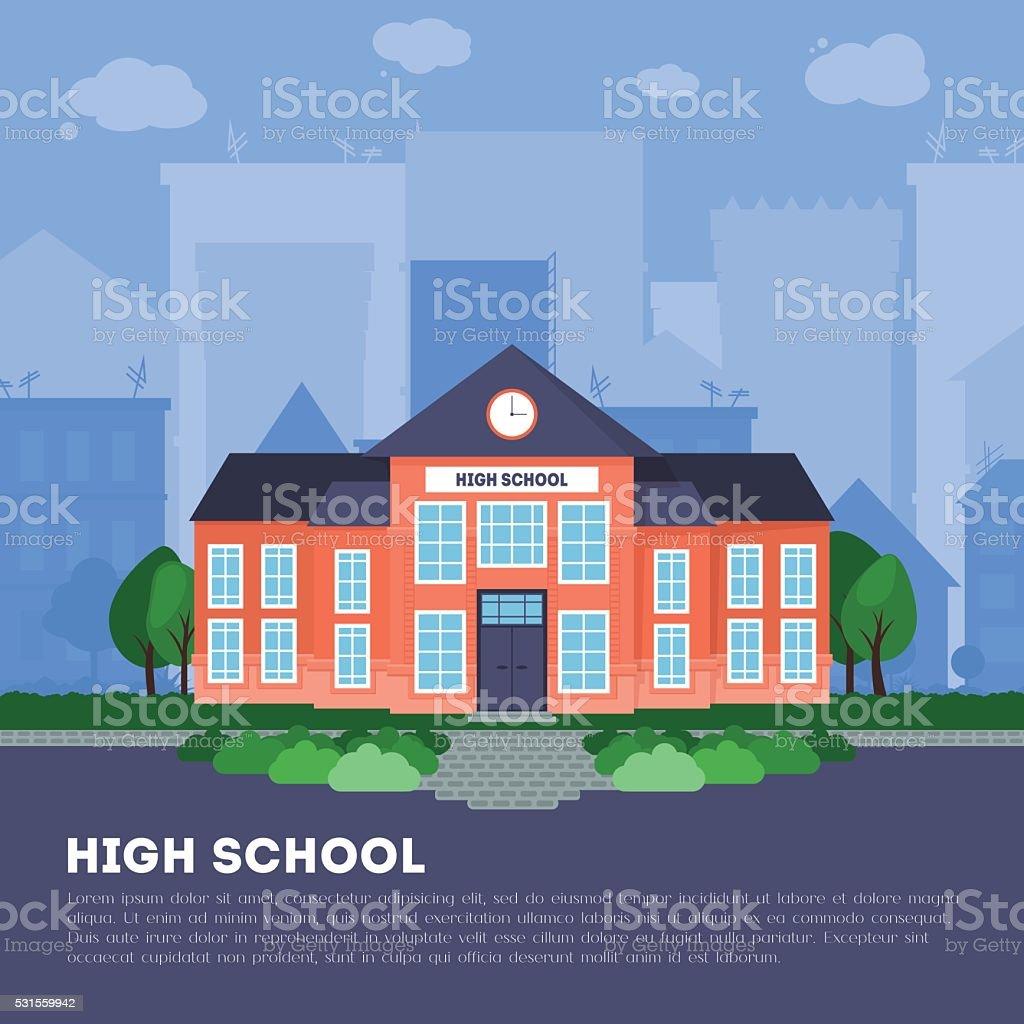 Flat school building in big city vector art illustration