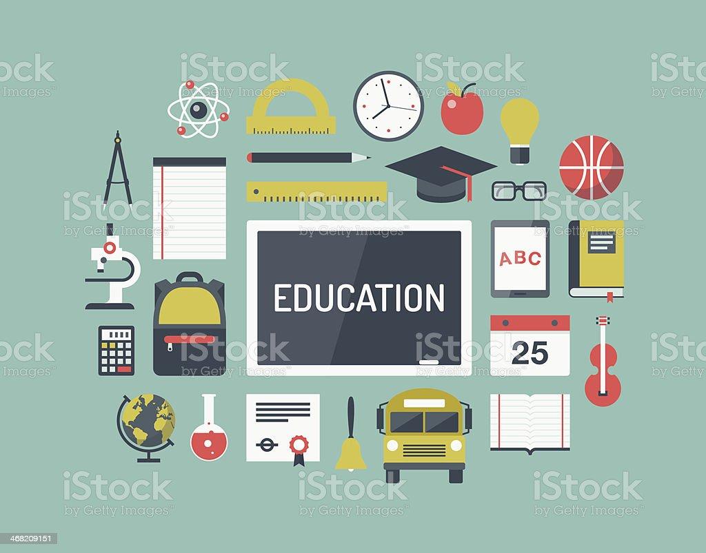Flat school icon set on light blue background vector art illustration
