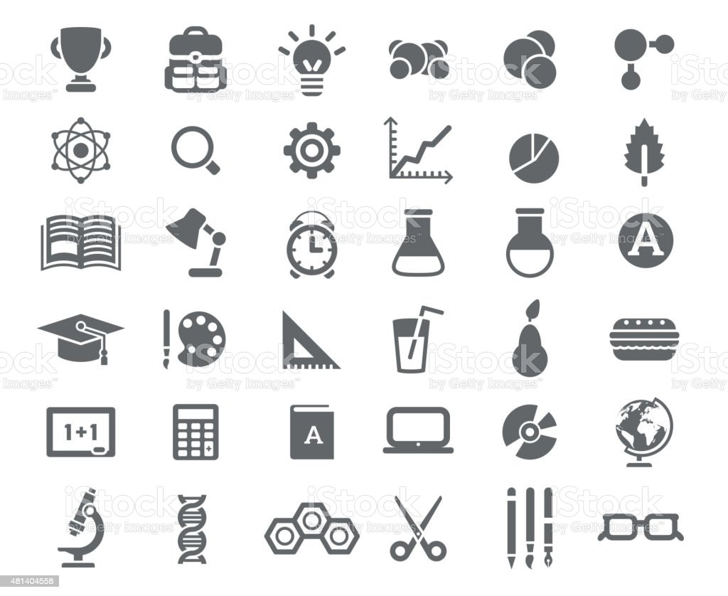 Flat School Icons Vector Collection. vector art illustration
